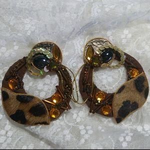 1980s Vintage Real Suede Leather Earrings